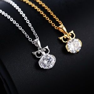 Owl Shape Cubic Zirconia Clavicular Necklace